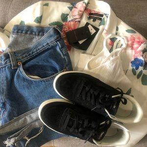 Blazer, sneaker and denim outfit bundle.